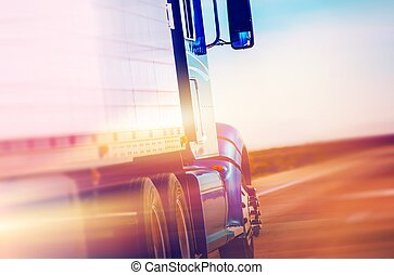 American Semi Truck - Speeding American Semi Truck on the...