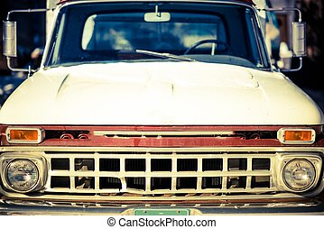 Aged Truck Front Closeup. Rusty Abandoned American Pickup...