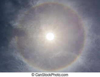 Sun halo - Sun halo with circular rainbow, due to ice...