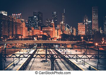 Chicago Skyline and Railroad System at Night. Chicago,...