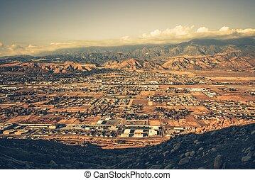 Banning California Panorama and San Bernardino Mountains at...