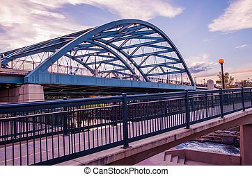 Denver Road Bridge. Speer Boulevard Bridge at Sunset. Bridge...