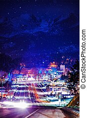 Estes Park Winter Illumination and Rocky Mountains Under the...