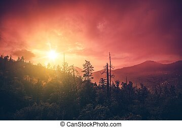 California Sunset Scenery. San Bernardino Mountains in...