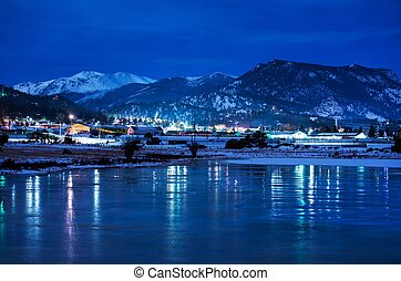 Estes Park Winter Night Panorama. Estes Park, Colorado,...
