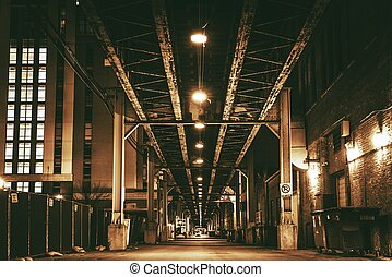 Chicago City Train Bridge in Downtown Chicago After Dark...
