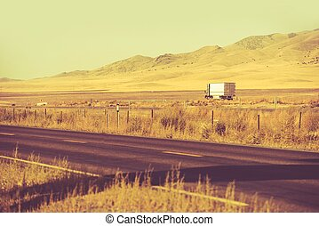 Down the Nevada Highway. Trucking Theme. Semi Truck on the...