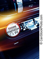 Car Ignition Button - Modern Car Ignition Button. Sporty Car...
