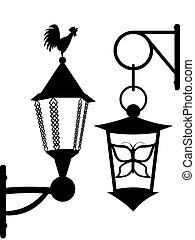 Ancient street lanterns in a vector - a silhouette on a...