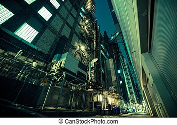 Dark Alley at Night Alley in Large American City American...