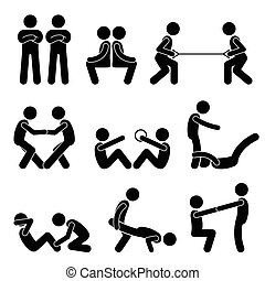 Exercise Workout with a Partner - A set of human pictogram...