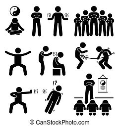 Qigong Qi Energy Power - A set of human pictogram...