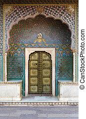 Rose Gate at the Chandra Mahal, Jaipur City Palace, Jaipur,...