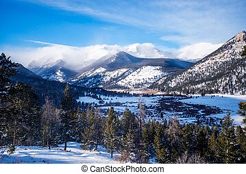 Rocky Mountains in Winter. Rocky Mountain National Park,...