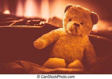 Plushy Teddy Bear in the Room. Plush Bear Toy. Warm Vintage...