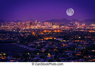 Phoenix Arizona Skyline at Night. Full Moon Over Phoenix,...