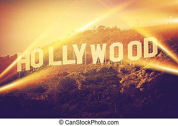 Hollywood California USA World Famous Hollywood Sign Concept...