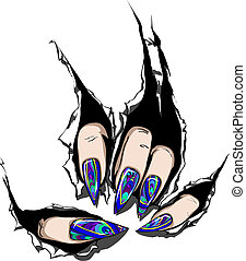 Nail Art - Nails looking like stained-glass window
