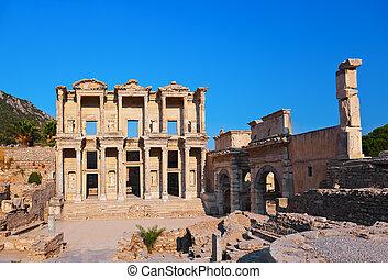 Ancient Celsius Library in Ephesus Turkey - Facade of...