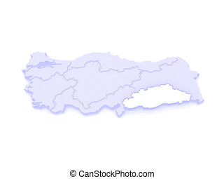Map of Southeastern Anatolia Turkey 3d