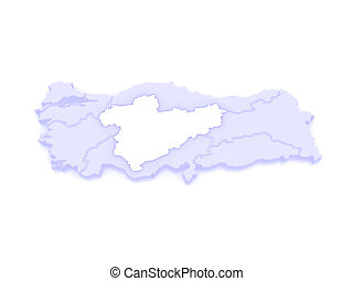 Map of Central Anatolia. Turkey. 3d