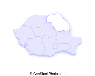 Map of Northeast Region Development Romania. 3d