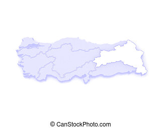 Map of Eastern Anatolia. Turkey. 3d