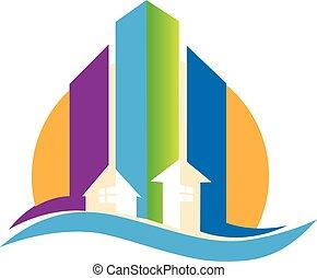 Modern buildings real estate logo - Modern buildings for...
