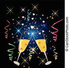 Champagne glasses celebration - Background two glasses of...