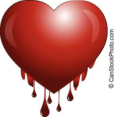 Suffered blooding heart of love vector icon logo