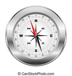 platinum compass - illustration of realistic platinum...