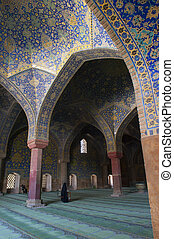Blue Mosque in the Iran - Vakil mosque, Shiraz, Iran. Two...