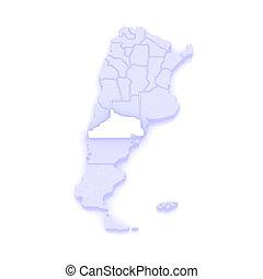 Map of Rio Negro. Argentina. 3d
