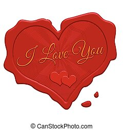 I love you red wax stamp on a white background, vector...