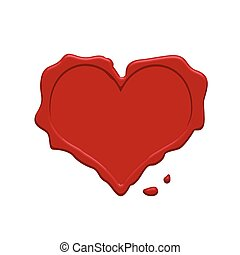 Heart red wax stamp