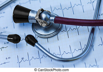 Cardiogram pulse trace and stethoscope concept for...