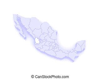 Map of Nayarit. Mexico. 3d