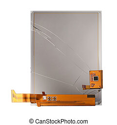 Broken screen of electronic pocket book isolated on white...