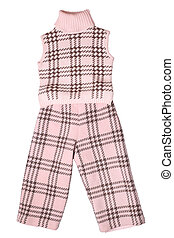 Baby girls trousers and sleeveless pullover isolated on...