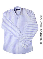 Blue pinstriped dress shirt isolated on white background