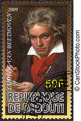 2009:, 貝多芬, 搬運車, -, (1770-1827), djibouti, 組成, Ludwig, 顯示...