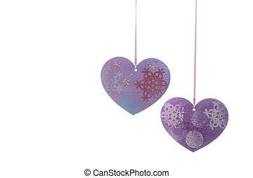 Valentines Day background with hearts isolated on white
