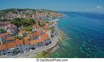 Sutivan on Brac Island, aerial shot - Copter aerial view of...