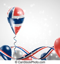 Norwegian flag on balloon Celebration and gifts Ribbon in...