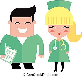doctors illustration vector flat character simple style