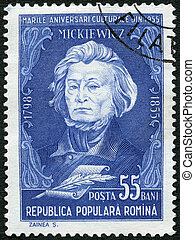 ROMANIA - 1955: shows Adam Mickiewicz (1798-1855), Polish...