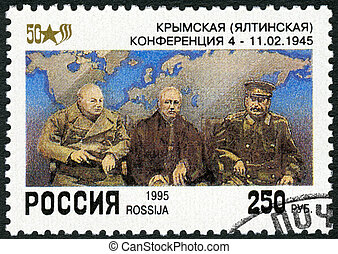 RUSSIA - 1995: shows Churchill, Roosevelt, Stalin at Yalta,...