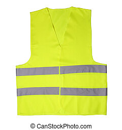 Green light vest isolated on white background