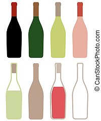 wine bottles icons