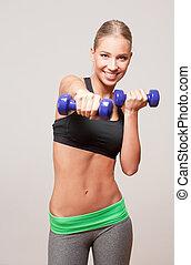 Blond fitness girl.